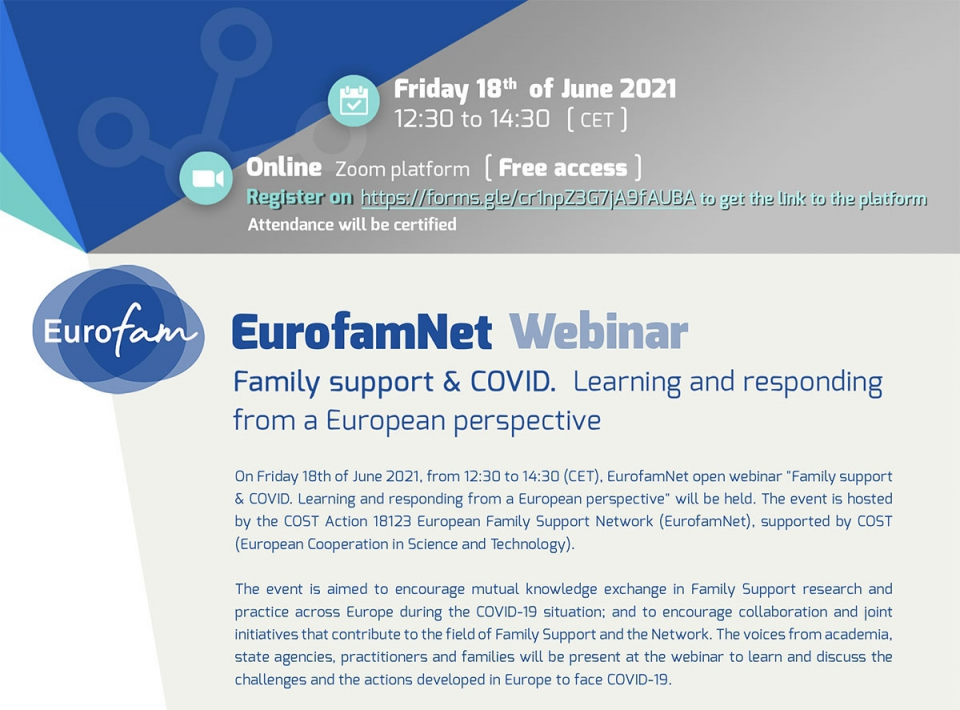 """EurofamNet Webinar: """"Family support & COVID. Learning and responding from a European perspective"""""""